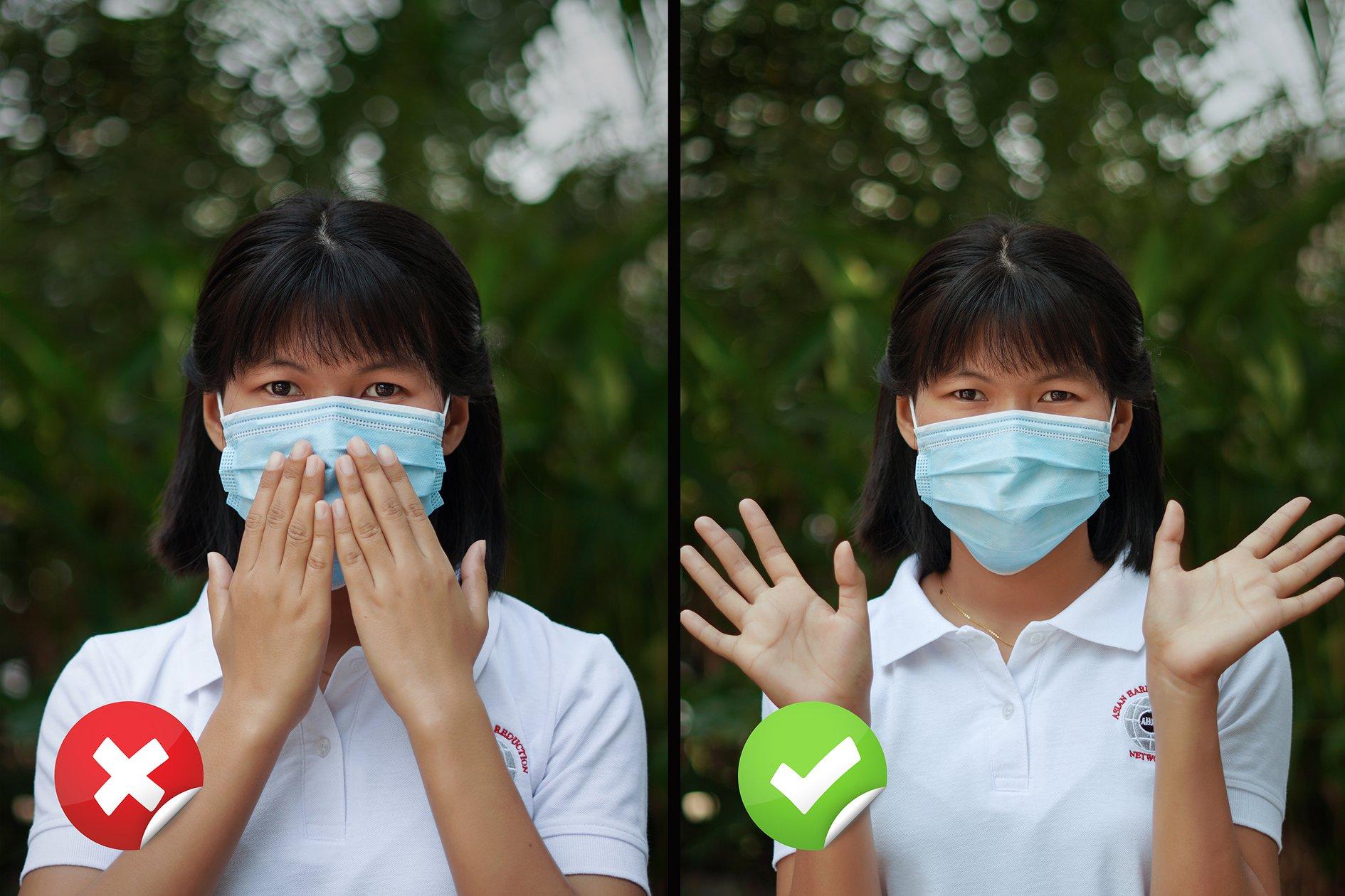 ပါးစပ်နှင့် နှာခေါင်းစည်းကို လက်ဖြင့် မကြာခဏ ကိုင်တွယ်ခြင်း မပြုရ။